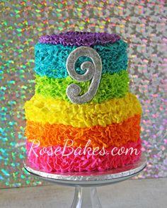 Neon Rainbow Ruffles Cake Front