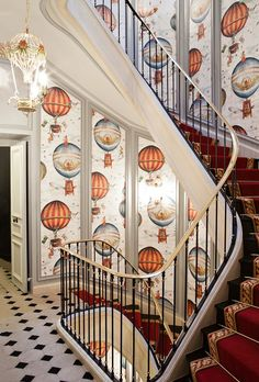 Gorgeous stairwell and landing at The St. James Hotel, Paris. I adore the wallcovering ~ how fun! | Boho Studio ᘡղbᘠ