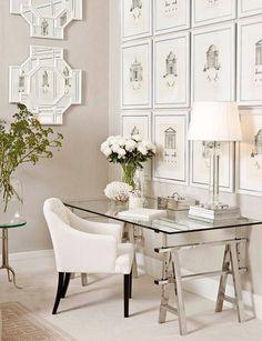 Image result for glass desk in guest room + pinterest