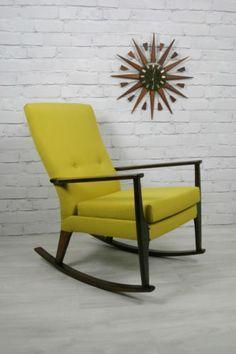 Image result for wooden retro rocking chair upholstered design