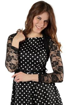 Frida Black Lace Bolero by Banned  www.misswindyshop.com   #bolero #shrug #lace #rosepattern #black #short #polkadotdress