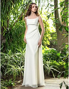 A-line Square Floor-length Chiffon Wedding Dress (710738) – USD $ 99.99