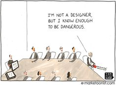 """Working With Designers"" - new cartoon and post on the design process and what we can learn from the new Yahoo logo http://tomfishburne.com/2013/09/working-with-designers.html"