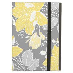 i Pad Lemon Gray Floral Pattern iPad Cover