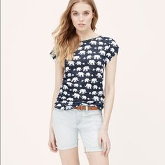 Ann Taylor Loft Elephant Linen Tee - New With Tags Whimsically sweet, we're a little bit wild about this soft linen tee. Jewel neck. Cap sleeves. Banded neckline. Shirttail hem. 100% linen. Brand new with tags. LOFT Tops Tees - Short Sleeve
