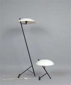 Lot: 4125843Louis Kalff, set of standard lamp + table lamp for Philips (2)