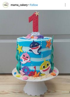 Baby Shark Doo Doo Doo Custom Birthday Cake - Shark birthday cakes - first birthday cake-Erster Geburtstagskuchen Shark Birthday Cakes, Baby Boy 1st Birthday Party, 2nd Birthday Party Themes, Custom Birthday Cakes, First Birthday Cakes, Happy Birthday, Birthday Cake Kids Boys, Birthday Ideas, Themed Birthday Cakes
