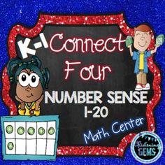 Number Sense Game - Connect 4 fun for kindergarten and grade. Math Worksheets, Teacher Resources, Teacher Tips, School Resources, Science Activities, Math Games, Numeracy Activities, Math Stations, Math Centers