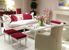 Spring 2016 HPFM Trends - Cranberry and white living room at High Point Spring Market