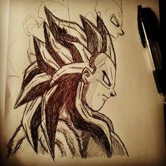 Continuing the Prince of Saiyans' sketch started yesterday just for break from studies 😃 #drawing #vegeta #princeofsaiyans #blackandwhite #pen #paper #sketch #dragonball #dbz #ssj #ssj4