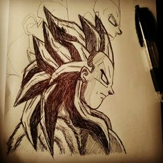 Continuing the Prince of Saiyans' sketch started yesterday just for break from studies 😃 #drawing #vegeta #princeofsaiyans #blackandwhite #pen #paper #sketch #dragonball #dbz #ssj #ssj4
