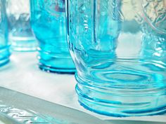 DIY Mason Jar Tutorial How to Make Blue Vintage Mason Jars « Beach Decor Blog, Coastal Blog, Coastal Decorating