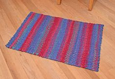 Twinned/Braided Cotton Rug   Blue & Red by StudioatRedTopRanch
