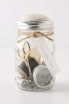 Sewing kit in a mason jar inspiration.