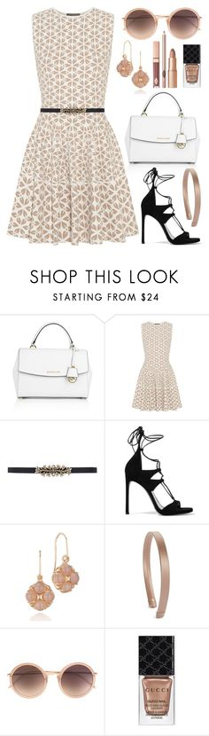 """""""Put a Belt On It! (Outfit Only)"""" by boxthoughts ❤ liked on Polyvore featuring Michael Kors, Alexander McQueen, Oscar de la Renta, Stuart Weitzman, Tacori, L. Erickson, Linda Farrow, Gucci, women's clothing and women"""