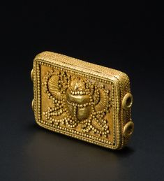 Spacer bead:                                                                                                    POA                                                                                Gold with granulation decor  Phoenician, c. 900 – 500 BC.