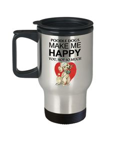Excited to share the latest addition to my #etsy shop: Poodle Dog Travel Mug, Poodle Lovers Art Gift, Poodle Dog Cup, Poodle Dogs Make Me Happy, 14oz Silver, Stainless Steel, Free Shipping https://etsy.me/2q8otqN #housewares #silver #yes #metal #poodledog #travelmug #p