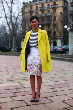 Yellow Coat + Striped Top + Floral Print Skirt + Louboutins = Perfection