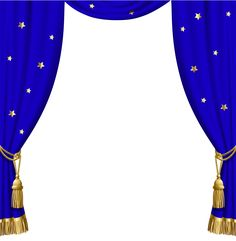 Transparent Blue Curtains with Gold Tassels and Stars​ | Gallery Yopriceville - High-Quality Images and Transparent PNG Free Clipart