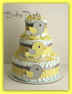 Yellow and Grey Diaper cake   Bird Diaper Cake Baby by MsPerks, $49.00