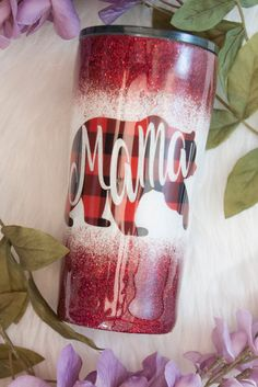 Mama Bear Red Buffalo and White ombré personalized glitter tumbler! This custom tumbler is hand glittered with high quality glitter. This cup is super sparkly and has a smooth as glass finish! ***All tumblers EXCEPT wine tumblers include a lid!*** This tr Vinyl Tumblers, Custom Tumblers, Personalized Tumblers, Glitter Cups, Glitter Tumblers, Glitter Balloons, Glitter Glue, Glitter Backdrop, Glitter Slides