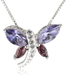 "Amazon.com: Carnevale Sterling Silver Dragonfly Pendant Necklace with Swarovski Elements, 18"": Jewelry"