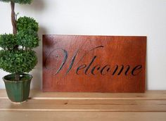 Welcome Sign Wood Welcome Sign House Sign Entry Sign (24.95 EUR) by DazzlingWordArt