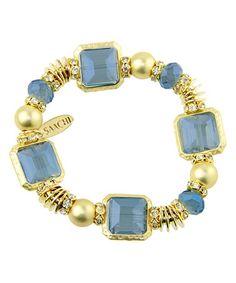 Another great find on #zulily! Blue & Goldtone Beaded Stretch Bracelet #zulilyfinds