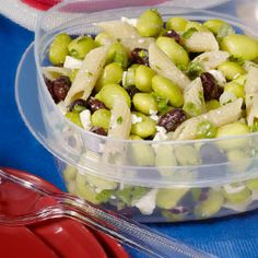 Will have to try this!  Edamame and Penne Salad with Feta    Great lunch idea...