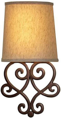 It's Exciting Lighting Heart Wireless Wall Sconce Tan Shade Bronze Base , Sconces Living Room, Wall Sconces, Wireless Wall Sconce, Battery Operated Lights, Heart Wall, Hanging Pictures, Fabric Shades, Lamp Light, Light Fixtures