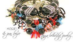 Tanya Lochridge Jewelry Confetti Confection Czech Glass Bead Bracelet stacked with early Joan Boyce enamel cuff. #joanboyce #tanyalochridgejewelry