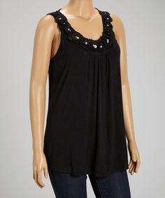 This Black Rosette Pearl Sleeveless Top - Plus by Simply Irresistible is perfect! #zulilyfinds