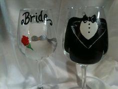 Hand painted Bride and Groom Wedding Wine Glasses by KyGirlShop, $20.00