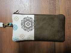 Wristlet-white and brown by VirginiaBlueCouture on Etsy, $25.00