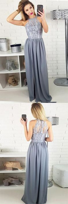 Charming A-Line Round Neck Split Front Grey Satin Sleeveless Prom Dresses UK with Lace PH442,#split#promdress#longeveningdress#satin#grey#lace#bridesmaid#partydress
