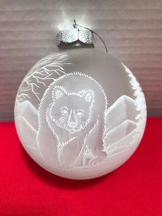UNIQUE-HAND-PAINTED-GLASS-Christmas-Tree-Ornament-BEAR-amp-TREES-amp-MOUNTAINS