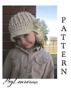 Girl's Ribbed Brim Beanie with Flower! Crochet For Kids, Crochet Baby, Knit Crochet, Cute Hats, Crochet Beanie, Kids Hats, Girl With Hat, Hat Making, Berets