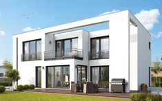 Generous and modern - a city villa HELMA can accommodate several children. Alicante, House Architecture Styles, House Elevation, Googie, Bungalow, Innovation Design, Country Style, Interior And Exterior, House Styles