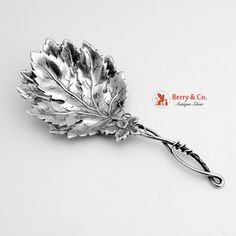 "Beautiful sterling silver figural leaf form bon bon spoon with incredibly detailed bowl. Maker unknown. This splendid bon bon spoon measures 5 9/16"" long and weighs 1 ozt."