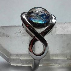 Cremation Jewelry Ring Infinity Band 14K White Gold or Yellow Gold Ashes InFused Glass Urn Ring