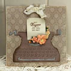 Specialists in Mulberry Paper Flowers, Pins, Lace, Crystals, Ribbon and lots of other gorgeous craft items Cute Cards, Diy Cards, Retro Typewriter, Tim Holtz Dies, Art Trading Cards, Hand Stamped Cards, Shaped Cards, Wild Orchid, Family Crafts