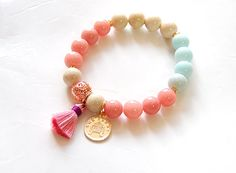 Tassle Gemstone Beaded Bracelet Stretch Bracelet by AppleMintShop