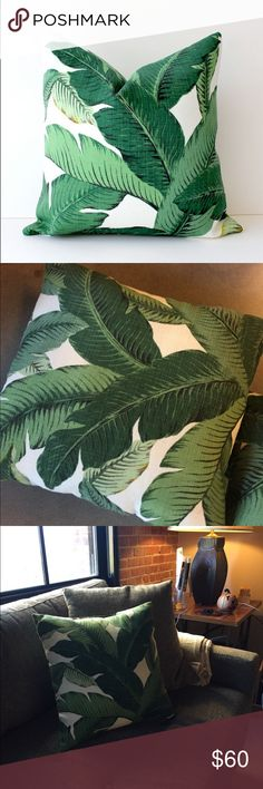 """Set of Banana Palm Leaf Throw Pillows NWOT. Pair of 16"""" inch Banana Palm Leaf print pillows. Set includes pillow covers and inserts.   ** Shades of Green with an Ivory background with a hint of yellow and black ** 100% Polyester (has a linen appearance) Indoor/Outdoor pillow covers ** Same fabric on both sides Anthropologie Other"""