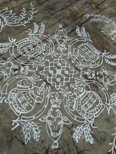 Happy bhogi.. Rangoli Borders, Rangoli Border Designs, Rangoli Patterns, Rangoli Ideas, Rangoli Designs Images, Beautiful Rangoli Designs, Indian Rangoli, Diwali Rangoli, Rangoli With Dots