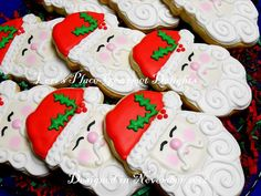 SANTA FACE Cookies  Santa Decorated Cookies  by lorisplace on Etsy