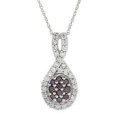 158-658 - Gems of Distinction™ 14K White Gold 0.50ctw Purple & White Diamond Pendant w/ Chain