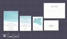 Sky Blue Ombre Dipped Watercolor Wedding Invitation   by LamaWorks