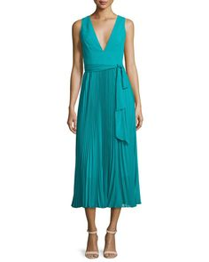 TBYB9 Alice + Olivia Ryn Pleated Chiffon V-Neck Midi Dress, Turquoise