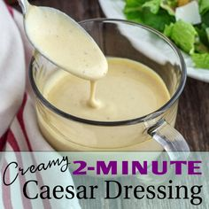 Caesar salad with homemade dressing just like the tableside classic at restaurants. Easy Creamy Caesar Dressing recipe makes this side or main dish salad a snap to prepare. Creamy Caesar Dressing Recipe, Homemade Ceasar Dressing, Salad Dressing Recipes, Ceasar Salad Recipe Dressing, Cesar Dressing, Salad Recipes, Ceaser Salad Recipe, Sauce Cesar, Gastronomia