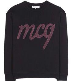 Mcq By Alexander Mcqueen Embroidered Cotton Sweater In Darkest Llack Alexander Mcqueen Clothing, Mcq Alexander Mcqueen, Cotton Style, Cotton Sweater, Designer Collection, Metallic, Logo, Sweatshirts, Model